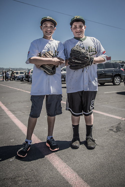 Cameron and Alex in the parking lot prior to the Oakland Athletics Detroit Tigers baseball game.