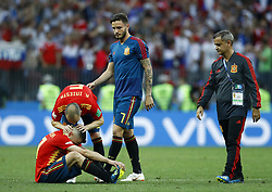 July 1, 2018 - Moscow, Russia - Round of 16 Russia v Spain - FIFA World Cup Russia 2018.Inuits and Jordi Alba (Spain) disappointment during the penalties at Luzhniki Stadium in Moscow, Russia on July 1, 2018. (Credit Image: © Matteo Ciambelli/NurPhoto via ZUMA Press)