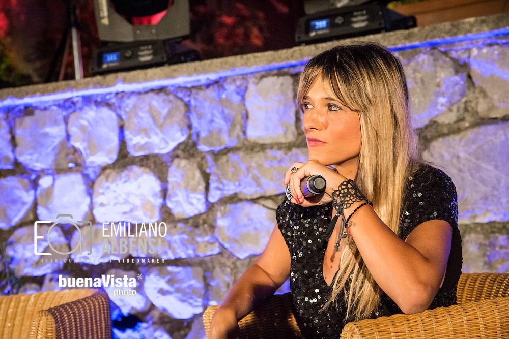 Maratea, Basilicata, Italia, 21/08/2014<br /> La giornalista lucana Francesca Barra alla Settimana del Cinema di Maratea<br /> <br /> Maratea, Basilicata, Italy, 21/08/2014<br /> The journalist Francesca Barra in Maratea for the Week of Cinema 2014