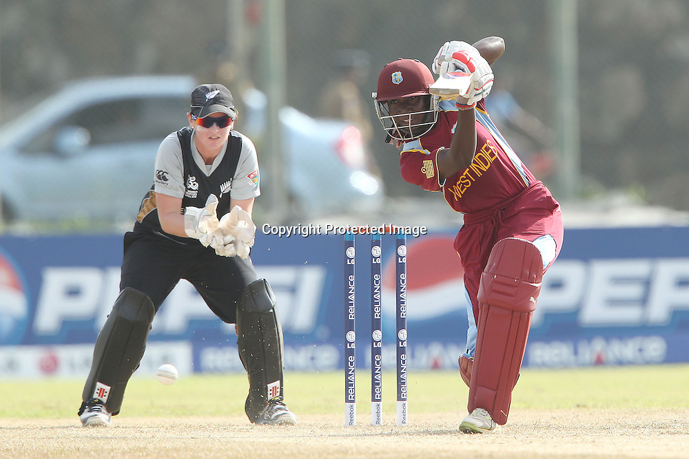 Stafanie Taylor drives the ball during the ICC Women's World Twenty20 - between The West Indies and New Zealand held at the Galle International Stadium in Galle, Sri Lanka on the 26th September 2012<br /> <br /> Photo by Ron Gaunt/SPORTZPICS/PHOTOSPORT