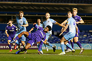Portsmouth forward Ellis Harrison stretches for the ball during the EFL Sky Bet League 1 match between Coventry City and Portsmouth at the Trillion Trophy Stadium, Birmingham, England on 11 February 2020.