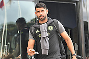 Chelsea forward Diego Costa (19) arrives at the KCOM stadium before  the Premier League match between Hull City and Chelsea at the KCOM Stadium, Kingston upon Hull, England on 1 October 2016. Photo by Ian Lyall.