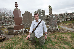 Historian Ashley Cowie, Dirlot Cemetery,  at the 'The Devil's Gold' in Dirlot, Caithness. He is doing a seven part series for The Scottish Sun on Scotland's treasure hunts at the end of April..©Michael Schofield.
