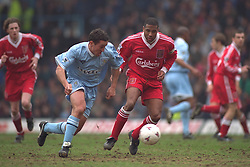 COVENTRY, ENGLAND - Saturday, April 6, 1996: Liverpool's captain John Barnes in action against Coventry City's Paul Telfer during the Premiership match at Highfield Road. Coventry won 1-0. (Pic by David Rawcliffe/Propaganda)