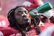 FAYETTEVILLE, AR - SEPTEMBER 5:  Alex Collins #3 of the Arkansas Razorbacks on the sidelines during a game against the UTEP Miners at Razorback Stadium on September 5, 2015 in Fayetteville, Arkansas.  The Razorbacks defeated the Miners 48-13.  (Photo by Wesley Hitt/Getty Images) *** Local Caption *** Alex Collins
