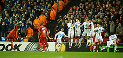 21.02.2013, Anfield, Liverpool, ENG, UEFA Europa League, FC Liverpool vs Zenit St. Petersburg, im Bild Liverpool's Luis Alberto Suarez Diaz scores the first goal against FC Zenit St Petersburg during UEFA Europa League match between Liverpool FC and Zenit St. Petersburg at Anfield, Liverpool, Great Britain on 2013/02/21. EXPA Pictures © 2013, PhotoCredit: EXPA/ Propagandaphoto/ David Rawcliffe..***** ATTENTION - OUT OF ENG, GBR, UK *****