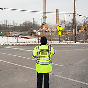 The towers from the disused Sonoco Paper Mill in Downingtown, Pennsylvania are demolished by explosives. The former paper mill will make way for retail and residential spacing as well as a potential new train station for the area. <br /> <br /> In April of 2016 Donald Trump passed this building in his motorcade following a campaign stop and caused outcry in the area, by tweeting a picture of the disused building saying &ldquo;Passing what was once a vibrant manufacturing area in Pennsylvania. So sad!&rdquo; followed by his &quot;Make America Great Again&quot; campaign slogan.<br /> <br /> Downingtown, Pa. January 19, 2018. <br /> <br /> By Jack Megaw.<br /> <br /> <br /> <br /> www.jackmegaw.com<br /> <br /> jack@jackmegaw.com<br /> @jackmegawphoto<br /> [US] +1 610.764.3094<br /> [UK] +44 07481 764811
