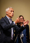 "Univision reporter Jorge Ramos debates with Republican Presidential candidate Donald Trump during his press conference before the ""Make America Great Again Rally"" at the Grand River Center in Dubuque, Iowa, Tuesday, August 25, 2015.  Ramos, an anchor with the Spanish-language Univision network, was removed from Donald Trump's news conference in Dubuque, Iowa, on Tuesday after the Republican presidential candidate said the journalist was asking a question out of turn. Ramos, who later returned to the televised event, was trying to query Trump about immigration when the real estate mogul told him several times to sit down. REUTERS/Ben Brewer"