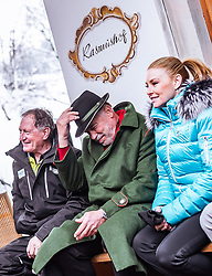 26.01.2019, Rasmushof Alm, Kitzbühel, AUT, FIS Weltcup Ski Alpin, Pressekonferenz, Arnold Schwarzenegger präsentiert eigenen Ski im Stil seines R20 Austrian World Summit, im Bild Franz Klammer (AUT), Arnold Schwarzenegger mit Freundin Heather Milligan // Franz Klammer (AUT), Arnold Schwarzenegger with Girlfriend Heather Milligan  during a press conference, Arnold Schwarzenegger presents own skis in the style of his R20 Austrian World Summit at the Rasmushof Alm in Kitzbühel, Austria on 2019/01/26. EXPA Pictures © 2019, PhotoCredit: EXPA/ JFK