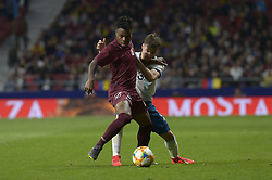 March 22, 2019 - Madrid, Madrid, Spain - Tagliafico of Argentina fight the ball with Murillo of Venenzuela during the Friendly football match between Argentina and Venezuela at Wanda Metropolitano Stadium in 22 March 2019, Madrid, Spain, preparatory for the Copa América Brazil 2019 to be played from June 14 to July 7. (Credit Image: © Patricio Realpe/NurPhoto via ZUMA Press)