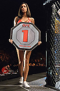 "NEWCASTLE, ENGLAND, UNITED KINGDOM, JANUARY 19 2008: Octagon girl Edith Labelle walks around the cage apron during ""UFC 80: Rapid Fire"" inside the Metro Radio Arena in Newcastle, England on January 19, 2008."
