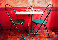 Green Chairs in a small cafe in L'Ile- sur- La- Sorgue, Provence, France
