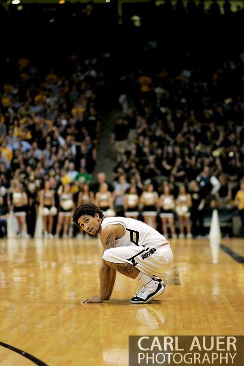 November 27, 2012: After 2 overtimes Colorado Buffaloes sophomore guard Askia Booker (0) is physically exhausted in the NCAA Basketball game between the Texas Southern Tigers and the Colorado Buffaloes at the Coors Event Center in Boulder Colorado