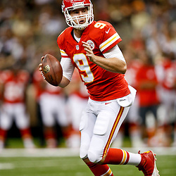 Aug 9, 2013; New Orleans, LA, USA; Kansas City Chiefs quarterback Tyler Bray (9) during the second half of a preseason game against the New Orleans Saints at the Mercedes-Benz Superdome. The Saints defeated the Chiefs 17-13. Mandatory Credit: Derick E. Hingle-USA TODAY Sports