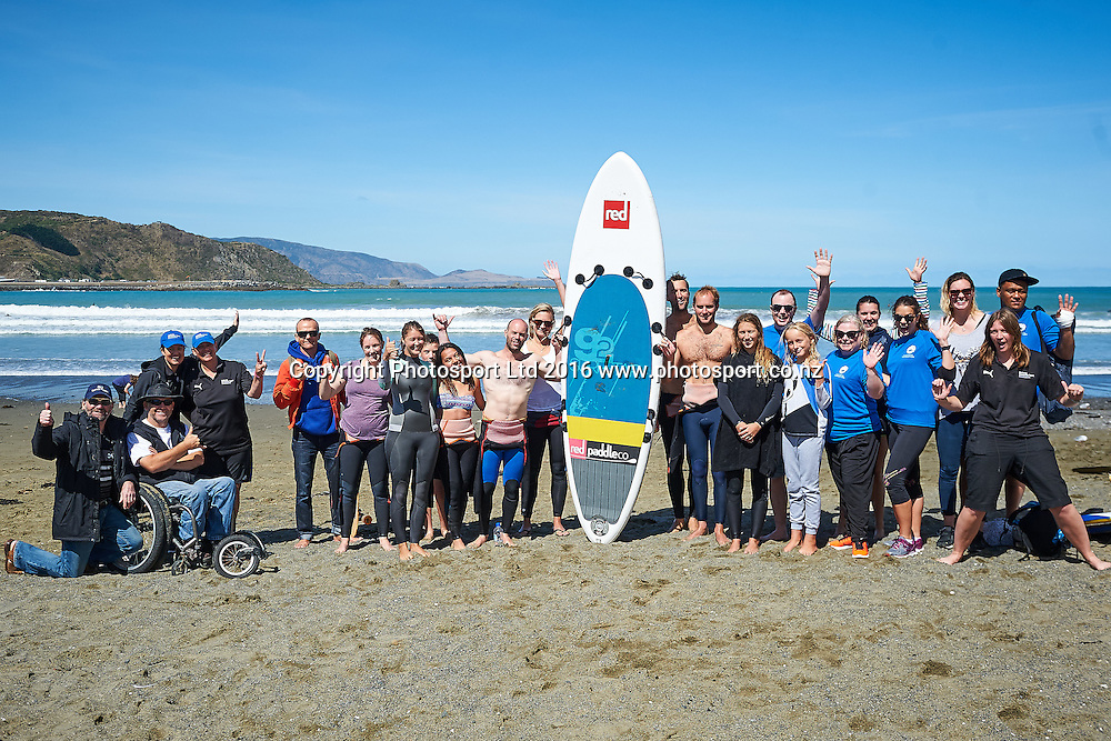 Volunteers at the end of the Flight Centre Foundation Halberg Surf Day, Lyall Bay, Wellington, New Zealand. Saturday 12 March 2016. Copyright Photo: Mark Tantrum/www.Photosport.co.nz