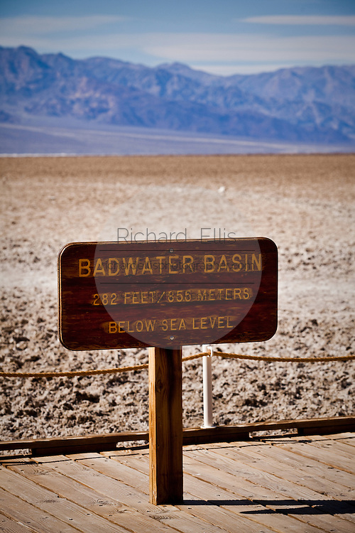 Sign at Badwater Basin, the lowest point on earth in Death Valley National Park, Nevada, USA.