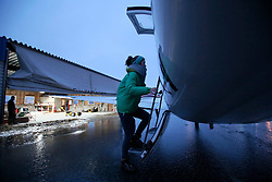 NORWAY BARENTS SEA 6DEC15 - A Greenpeace team member boards Piper PA-31 Navajo plane en route to the production platform Goliat in the Barents Sea operated by Italian energy compay Eni. It is the world's most northerly oil production platform.<br /> <br /> jre/Photo by Jiri Rezac / Greenpeace<br /> <br /> © Jiri Rezac 2015