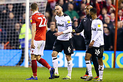 Richard Keogh of Derby County argues with Ryan Yates of Nottingham Forest - Mandatory by-line: Robbie Stephenson/JMP - 25/02/2019 - FOOTBALL - The City Ground - Nottingham, England - Nottingham Forest v Derby County - Sky Bet Championship