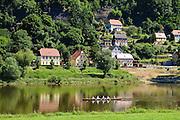 Rudere auf Elbe bei Bad Schandau, Elbsandsteingebirge, Sächsische Schweiz, Sachsen, Deutschland. .rowing boat on river Elbe near Bad Schandau, Saxon Switzerland, Saxony, Germany