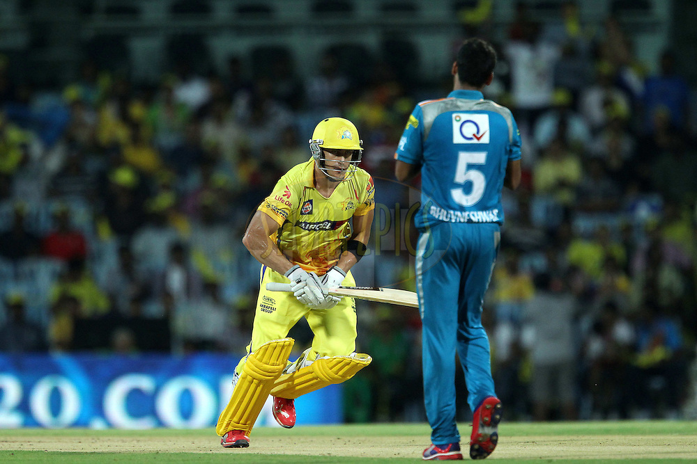 Faf du Plessis sets off on the run during match 24 of the the Indian Premier League ( IPL) 2012  between The Chennai Superkings and the Pune Warriors India held at the M. A. Chidambaram Stadium, Chennai on the 19th April 2012..Photo by Ron Gaunt/IPL/SPORTZPICS