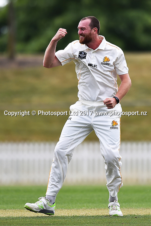 Firebirds Iain McPeake celebrates his 5th wicket during their Plunket Shield cricket match Wellington Firebirds v Central Stags. Saxton Oval, Nelson, New Zealand. Saturday 25 November 2017. ©Copyright Photo: Chris Symes / www.photosport.nz