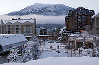 Whistler Village sparkles on a winter evening after a fresh snowfall.