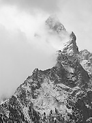 Teewinot emerges from the clouds, Grand Teton NP, Wyoming