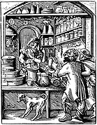 The Druggist. 16th century woodcut by Jost Amman. Druggist is using pestle and mortar to grind ingredients.
