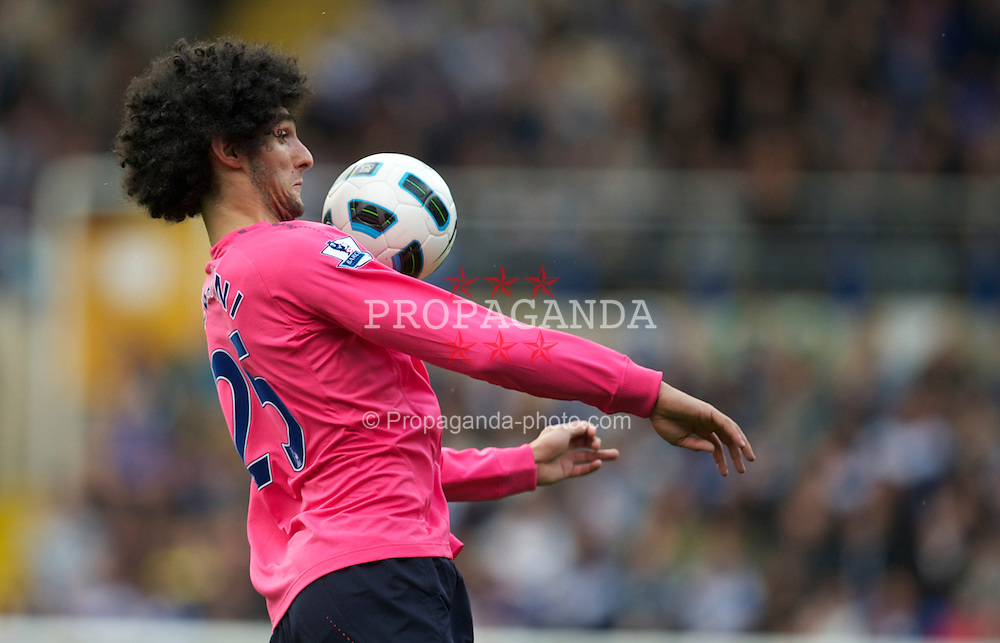 BIRMINGHAM, ENGLAND - Saturday, October 2, 2010: Everton's Marouane Fellaini in action against Birmingham City during the Premiership match at St Andrews. (Photo by David Rawcliffe/Propaganda)