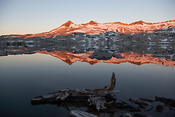 """Lake Aloha Reflection 3"" - These mountains and their reflection were photographed at sunrise at Lake Aloha, in the Tahoe Desolation Wilderness."