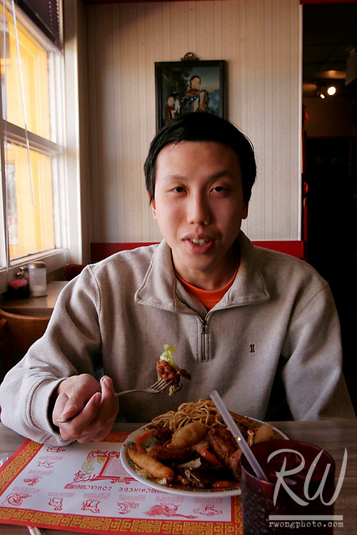 Eric Wong Eating Chinese Food, Tucumcari, New Mexico
