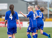 Julia Scott (19) celebrates after scoring her second goal - Forfar Farmington v Hutchison Vale, pre-season friendly at Station Park, Forfar<br /> <br />  - &copy; David Young - www.davidyoungphoto.co.uk - email: davidyoungphoto@gmail.com