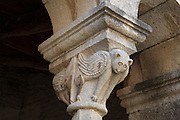 Stone sculpted fantastic winged creatures on the capital of a column on the exonarthex of the Church of St Mary, 13th century, in the Ardenica Monastery, an Eastern Orthodox monastery near Apollonia, Fier, Albania. 8 of these capitals all display various monsters and fantastic creatures. The church is of Byzantine-orthodox architecture but with many Romanesque features, and contains frescoes by Kostandin and Athanas Zografi which date to 1744. The monastery was founded in 1282 by Andronikos II Palaiologos and is dedicated to the Byzantine victory over the Angevins in Berat during the Siege of Berat of 1280ñ81. Picture by Manuel Cohen