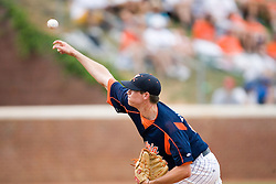 Virginia Cavaliers pitcher Jacob Thompson (25) pitches against OSU.  The Virginia Cavaliers defeated the Oregon State Beavers 7-4 in 13 innings during Game 4 of the NCAA World Series Regionals held at Davenport Field in Charlottesville, VA on June 2, 2007.