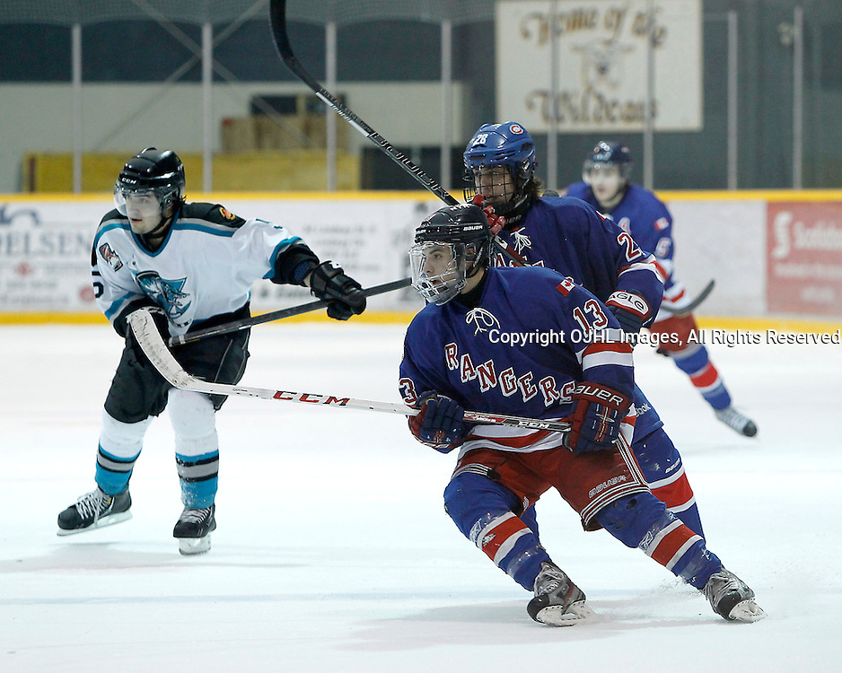 Lindsay, ON - Jan 31 : Ontario Junior Hockey League game action between the Lindsay Muskies and the North York Rangers. Gabriel Valenzuela #13 of the North York Rangers Hockey Club during first period game action.<br /> (Photo by Tim Bates / OJHL Images)