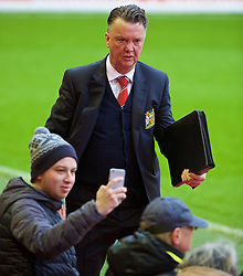 LIVERPOOL, ENGLAND - Sunday, January 17, 2016: Manchester United's manager Louis van Gaal arrives before the Premier League match at Anfield. (Pic by David Rawcliffe/Propaganda)