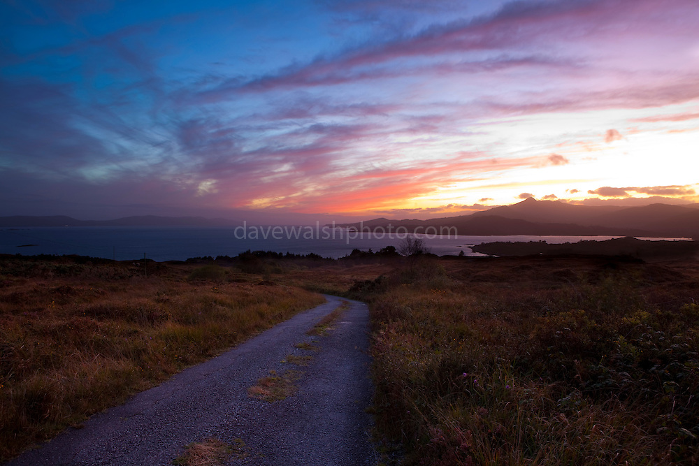 Sunset over Bantry Bay, west Cork, Ireland.