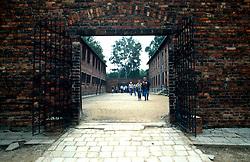 POLAND AUSCHWITZ AUG96 - View into a barracks yard at Auschwitz camp I.<br /> <br /> jre/Photo by Jiri Rezac<br /> <br /> © Jiri Rezac 1996<br /> <br /> Tel:   +44 (0) 7050 110 417<br /> Email: info@jirirezac.com<br /> Web:   www.jirirezac.com