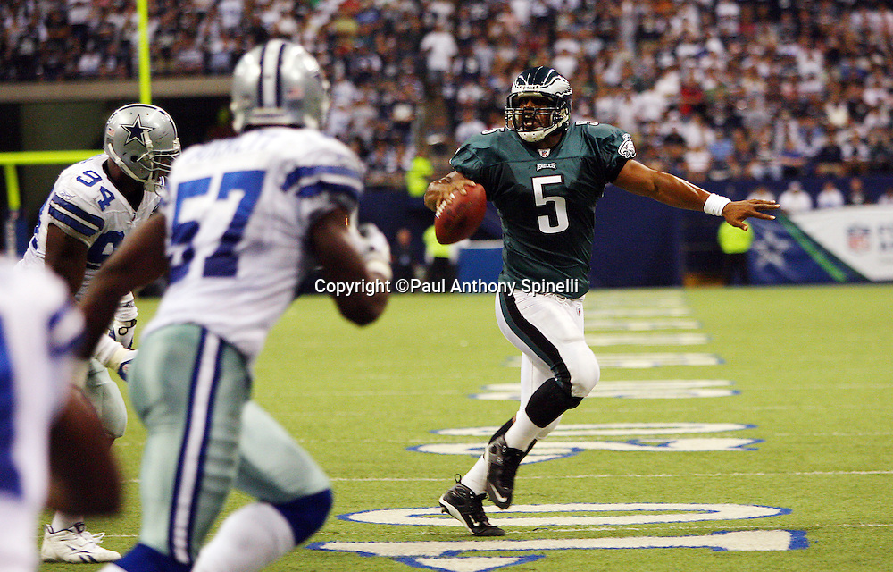 IRVING, TX - SEPTEMBER 15:  Quarterback Donovan McNabb #5 of the Philadelphia Eagles rolls out while looking for a receiver during the game against the Dallas Cowboys at Texas Stadium on September 15, 2008 in Irving, Texas. The Cowboys defeated the Eagles 41-37. ©Paul Anthony Spinelli *** Local Caption *** Donovan McNabb