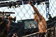 "ABU DHABI, UNITED ARAB EMIRATES, APRIL 10, 2010: Mostafa Al Turk stands in his corner during ""UFC 112: Invincible"" inside Ferari World, Abu Dhabi on April 10, 2010."