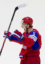 Ilya Nikulin of Russia celebrates during ice-hockey match between Russia and Slovakia of Group A of IIHF 2011 World Championship Slovakia, on May 3, 2011 in Orange Arena, Bratislava, Slovakia. (Photo By Vid Ponikvar / Sportida.com)