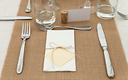 restaurant interior, table setting, closeup