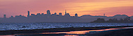 Panoramic of Crown Memorial Beach Sunset with Downtown San Francisco Skyline in Background, Alameda, California