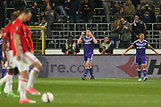 Anderlecht Midfielder Leander Dendoncker celebrates his goal during the UEFA Europa League Quarter-final, Game 1 match between Anderlecht and Manchester United at Constant Vanden Stock Stadium, Anderlecht, Belgium on 13 April 2017. Photo by Phil Duncan.