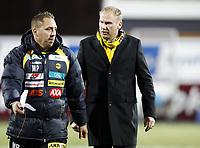 Fotball , 24. mars 2012 , Tippeligaenm , Eliteserien , Hønefoss - Lillestrøm 0-0<br /> <br /> trener Magnus Haglund , LSK og Magnus Powell , (tv)