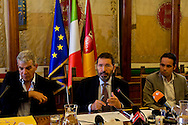 Roma 3 Agosto 2015<br /> Il sindaco di Roma Ignazio Marino e l'assessore alla Legalit&agrave; e Trasparenza Alfonso Sabella illustrano in una conferenza stampa  nuove importanti misure per il rilancio del progetto dei Punti Verde Qualit&agrave;. Sala delle Bandiere al Campidoglio. Emiliano Sciascia, Presidente del Municipio Roma IV.<br /> Rome, August 3, 2015<br /> Rome mayor Ignazio Marino and the Councillor for Legality and Transparency Alfonso Sabella illustrate a news conference important new measures for the revival of the project of Green Points Quality. Hall of Flags at the Capitol. Emiliano Sciascia, President of the Rome City Hall IV.