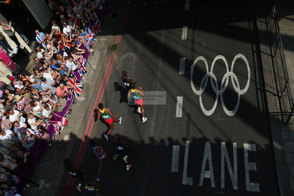 The lead runners during the men's marathon during day 16 of the London Olympic Games in London, England, United Kingdom on August 12, 2012..(Jed Jacobsohn/for The New York Times)..