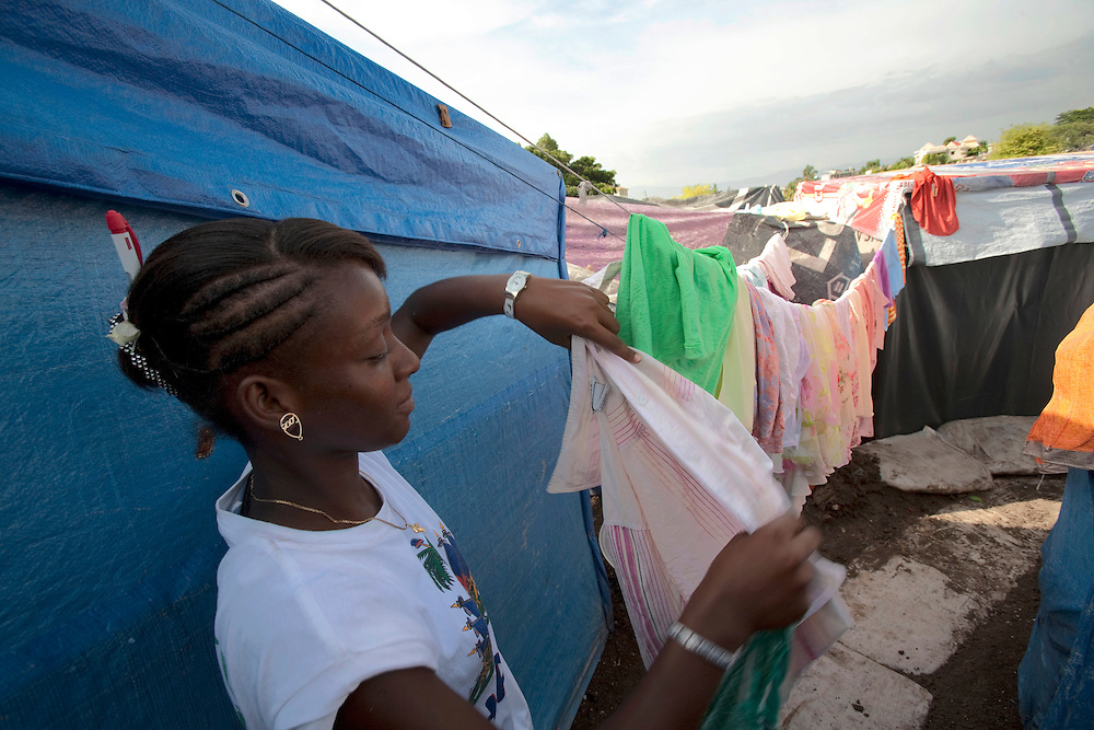 Daly life in the makeshift refugee camp, JP HRO, run by the movie actor Sean Penn in Port-au-Prince, Haiti on July 16, 2010.<br /> The camp is estimated to have over 55,000 refugees. <br /> <br /> Six month after a catastrophic earthquake measuring 7.3 on the Richter scale hit Haiti on January 13, 2010, killing an estimated 230,000 people, injuring an estimated 300,000 and making homeless an estimated 1,000,000.