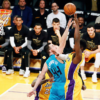 28 February 2017: Los Angeles Lakers forward Julius Randle (30) goes for the baby hook over Charlotte Hornets center Frank Kaminsky III (44) during the Charlotte Hornets 109-104 victory over the LA Lakers, at the Staples Center, Los Angeles, California, USA.
