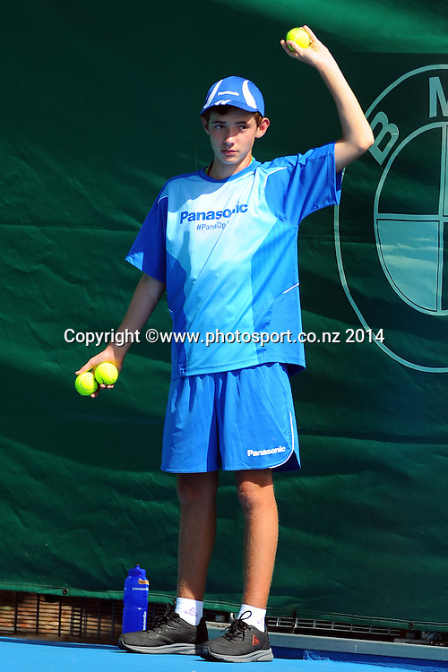 Panasonic ball kid during the Heineken Open Day 2. ASB Tennis Centre, Auckland, New Zealand. Tuesday 7 January 2014. Photo: Chris Symes/www.photosport.co.nz